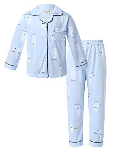 YOOJIA Conjunto de 2 Piezas de Pijamas de Algodón para Niños Ropa de Dormir Estampado con Dibujos...