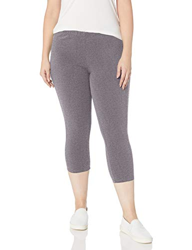 Just My Size Women's Plus-Size Stretch Jersey Capri, Charcoal Heather, 2X
