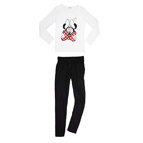 Disney Minnie Mouse Damen Pyjama Schlafanzug Set Langarm Oberteil mit Hose Weiß/Schwarz Gr. L