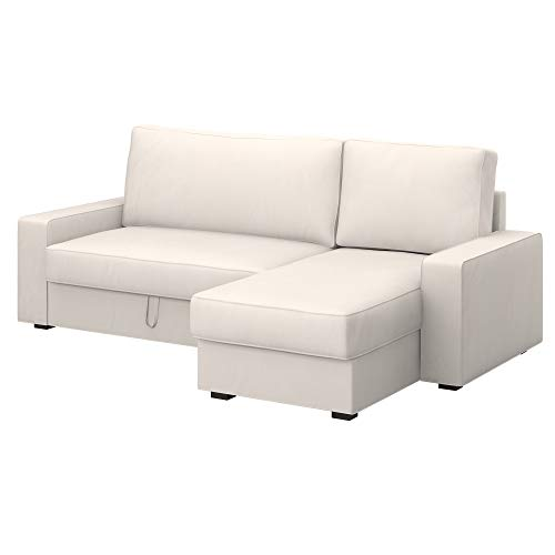 Soferia Bezug fur IKEA VILASUND Bettsofa mit Récamiere Bezug, Stoff Eco Leather Light Beige