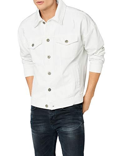 Urban Classics Herren Ripped Denim Jacket Jeansjacke, Weiß (White 00220), X-Large (Herstellergröße: XL)