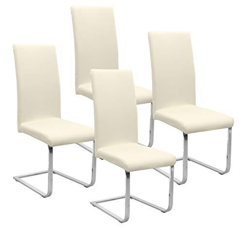 BEAUTEX Jersey Stuhlhussen Sets, elastische Stretch Husse Baumwolle Bi-Elastic, Farbe wählbar (Creme 4er Set)