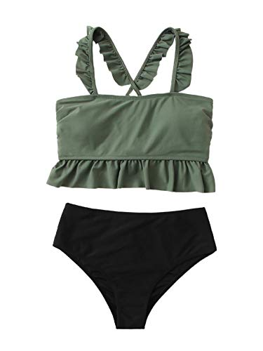 SweatyRocks Women's Bathing Suits Colorblock Ruffle Bikini Set High Waisted Swimsuits Green-Black Large