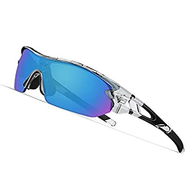 TOREGE Polarized Sports Sunglasses with 3 Interchangeable Lenes for Men Women Cycling Running Driving Fishing Golf Baseball Glasses TR02 (Transparent&Black&Blue)