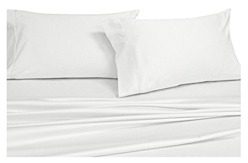 Royal's Solid White 600-Thread-Count 4pc King/California-King Waterbed-Sheets 100-Percent Cotton, Sateen Solid Sheet Set