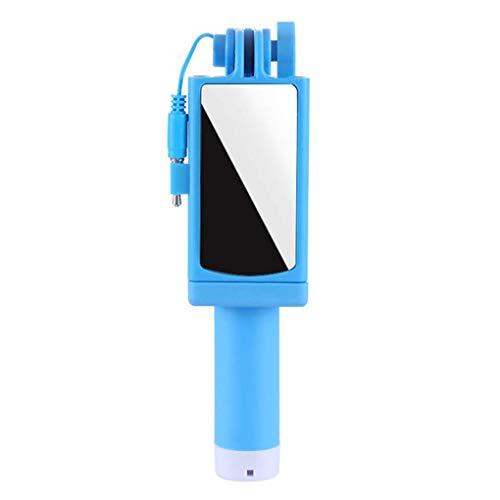 Auslöser-Stick Selbstauslöser-Stick Ausziehbarer Kleiner Handheld-Handy-Stick Smartphone-Halter Faltbarer Kabelfernauslöser Rückspiegel, Golden_flower,