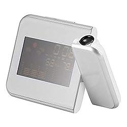 MHBY Alarm Clock, Desktop Clock with Projector Color Screen, Digital Alarm Clock time Projection Clock Multi-Function Weather Calendar time Watch Alarm Clock