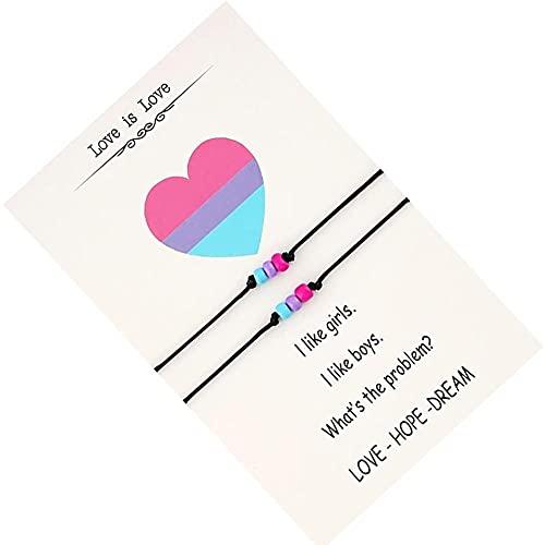 2 Pcs Pulsera De para Lesbianas Y Gay Pride LGBT Abajo Combinadas Pulseras Pulseras Hechas a Mano para Joyería Unisex