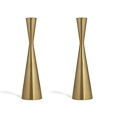 2 Brass Finished Taper Candle Holders, 9 Inches, Metal, Hourglass Shape, Fits Standard Candlestick Diameters