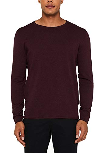 edc by ESPRIT Herren 997CC2I800 Pullover, Rot (Bordeaux Red 600), Large
