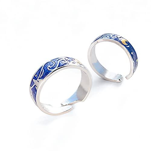 Chereda Anillos a juego con estrellas de luna azul estrellada noche Van Gogh anillos ajustables para el mejor amigo pareja mujeres hombres amantes mejor regalo