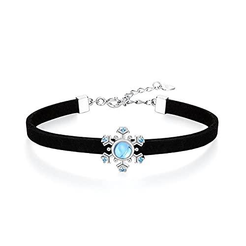 1 pulsera azul topacio azul con cristales de copo de nieve, estilo japonés simple