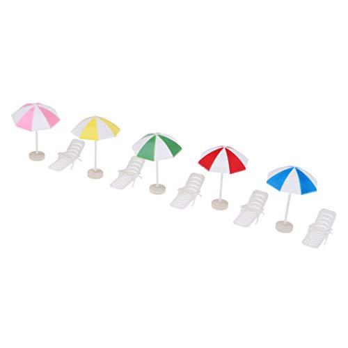 Fenteer Poltrona Sedia Lunga con Ombrellone Chair Miniature Mobili da Spiaggia per Doll Plastica - Multicolore