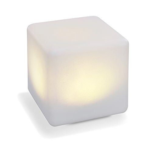 Solar Leuchtwürfel Smart Cube 18cm Kantenlänge Dauerlicht oder Wechsellicht, 7 Lichtfarben enthalten, 0,4 Watt Solarmodul, robuste Kunststoffausführung für Ganzjahreseinsatz, Solarlampe 106100