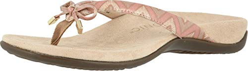 Vionic Women's Rest Bella Toe Post Sandal- Suppportive Ladies Orthotic Sandals that include Three Zone Comfort with Arch Support- Flip Flop for Ladies, Medium and Wide Width Size 5-12 Dusty Pink Chevron 7.5 Narrow US