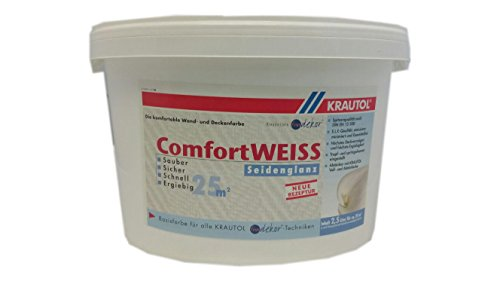 Krautol Wandfarbe ComfortWeiß Seidengläzend E.L.F-Qualität 2,5 Liter