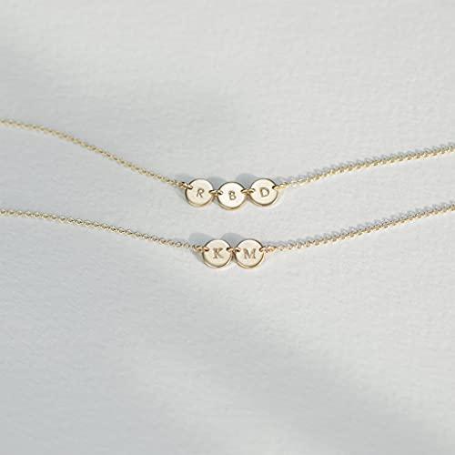 KONZFP collarCollar con Inicial de Disco pequeño Dorado, Collar con Nombre Personalizado, joyería grabada Delicada Personalizada para Mujer