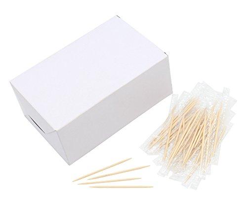 Holz-Zahnstocher, 6,5 cm Länge, einzeln verpackt, Premium-Qualität, 1000 Stück