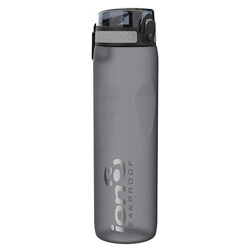 Ion8 Auslaufsichere 1 liter Sport Trinkflasche, BPA-frei, Grau