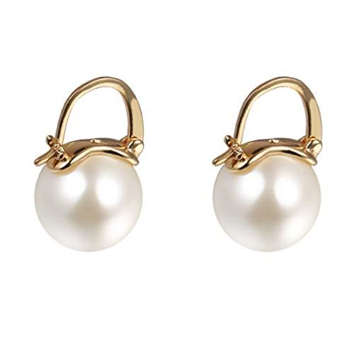 YAXUN Perlenohrringe Damen Ohrringe Golden Vergoldet Ohrhänger 15mm Runden Groß Perlen Tropfen Hängend Ohrringe Schmuck Geschenke Für Frauen Mädchen