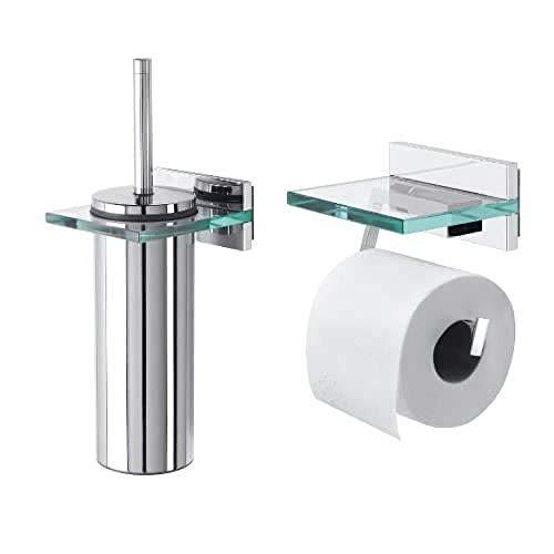 Tiger Kombi-Set Safira: Toilettenpapierhalter mit Glasablage und Toilettenbürste, Farbe: Chrom