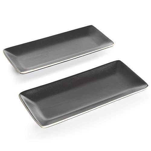 Gibson Elite Soho Lounge 11.75' Serving Platter, (2) Set, Black