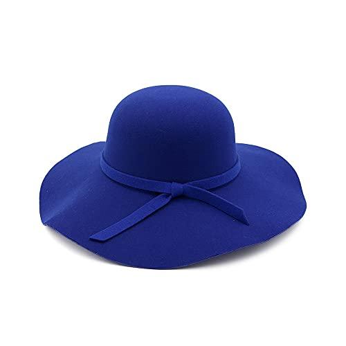 WAZHX Cappellino A Tesa Larga Cappelli A Cupola in Lana di Alta qualità Cappello A Cloche Nero da Donna 52-55 Cm Blu