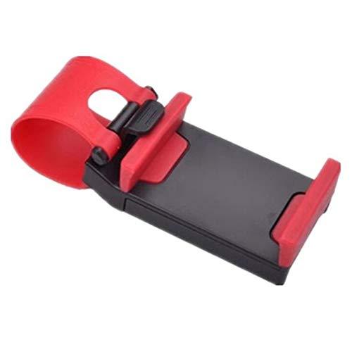 Support de téléphone portable universel pour volant de voiture - Réglable - Antidérapant - Rouge