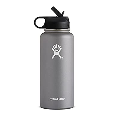 Hydro Flask Vacuum Insulated Stainless Steel Water Bottle Wide Mouth with Straw Lid (Graphite, 32-Ounce)