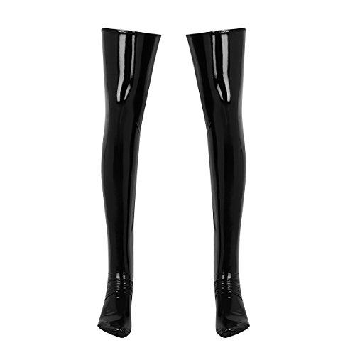 YiZYiF Herren Wetlook Oberschenkel Leder Strümpfe Lange Socken Erotik Dessous Nachtwäsche Clubwear Gogo Schwarz Large