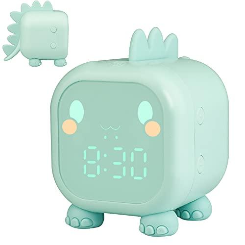 Kinderwecker Digital, Dinosaurier Wecker mit Nachtlicht Snooze Timer-Temperatur Kinder Schlaftrainer , Wecker für Kinder Schlafzimmer Jungen Mädchen (Grün)