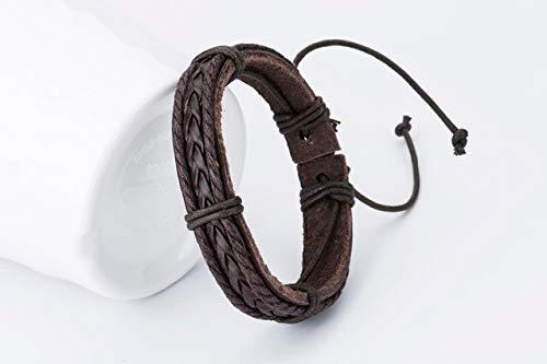 RJGOPL lederen damesarmbanden voor heren, meisjes, handgemaakt, geweven bedelarmbanden, zwart Trend Street bruin