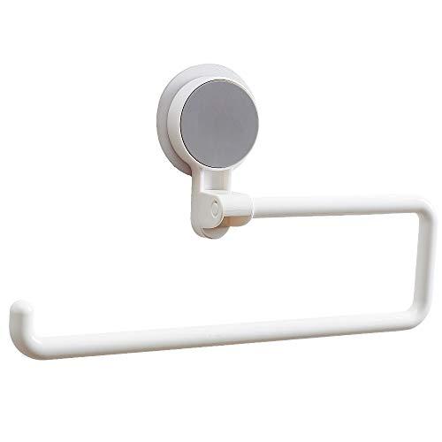 FeJu Küchenrollenhalter ohne Bohren | Kunststoff | Papierrollenhalter, Halterung für Haushaltspapier, selbstklebend