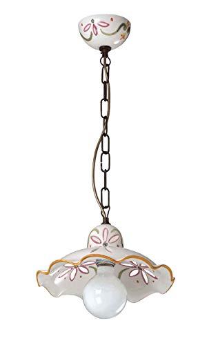 Sospensione Lampadario in Ceramica Traforata Decorata a Mano Marrone diametro cm. 30-100% Made in Italy