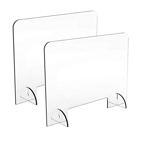 LYBC 2 Stück Spuckschutz Acryl Plexiglas aus Acrylglasplatte -Thekenaufsatz Bürotrennwand mit Durchreiche - Hustenschutz 40x40cm/80x60cm(BxH)