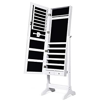 Giantex Lockable Standing Jewelry Armoire with Full Length Mirror Large Storage Capacity Jewelry Cabinet Organizer with 2 Drawers 4 Angel Adjustable Extra Wide Mirror for Women Girls  White