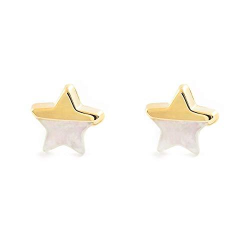 Pendientes Oro Niña Estrella nacar y brillo (9kts)