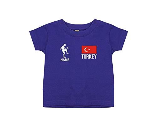 Shirtstown Camiseta Niño Camiseta de Fútbol Turquía con Su Nombre Desdeado Estampado - Lila, Morado, 24-36Monate