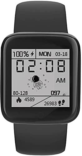 Smart Watch Sleep Fitness Waterproof Watch, 1.44 Pulgadas (Azul) (Color : Black)