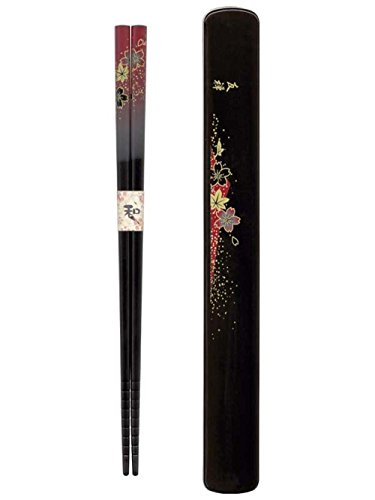 M.V. Trrading MVRKS8 Japanese Chopsticks Set with Travel Carry Case, Red with Beautiful Foral