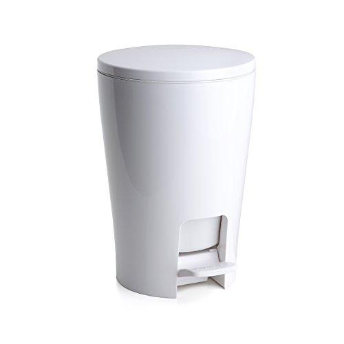 Tatay Papelera Baño con Pedal Diabolo, 5L de Capacidad, de Polipropileno, Interior Extraíble, Libre de BPA, Color Blanco, Medidas 19 x 21 x 28.2 cm ✅