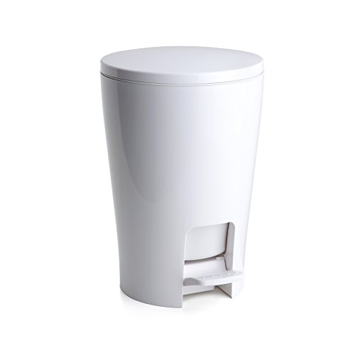 TATAY 4434901 - Diábolo Cubo de baño con apertura a pedal, 5 litros de capacidad, PP, Blanco, 19.00x21.00x28.20 cm