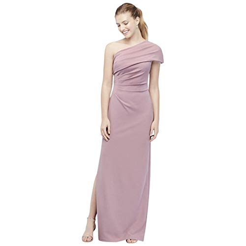 David's Bridal Ruched One-Shoulder Stretch Crepe Bridesmaid Dress Style AP2E205030, Dusty Rose, 2