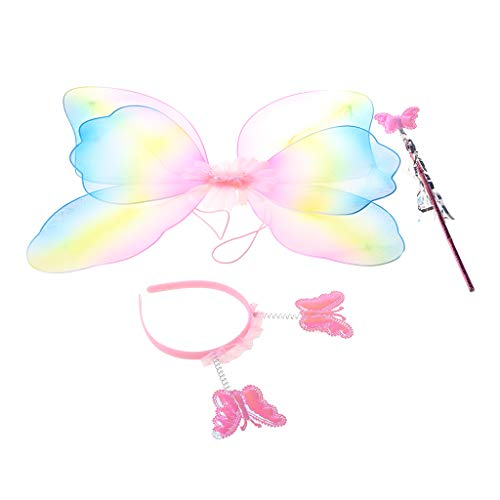 Xiuinserty - Juego de 3 piezas de disfraz de hadas para niños y niñas, con alas de mariposa
