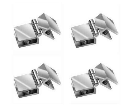 4 bisagras para puerta de cristal, herrajes para puertas de 6 a 8,76 mm