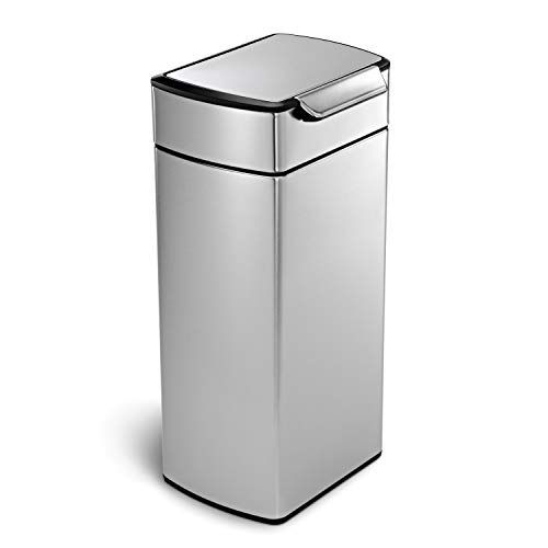 simplehuman 30 Liter / 8 Gallon Stainless Steel Touch-Bar Kitchen Trash Can, Brushed Stainless Steel, ADA-Compliant