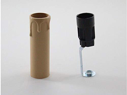 PORTALAMPADE 65mm CANDELA COLORE ANTICO E14 CON NIPLES FINTA CANDELA