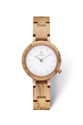 KERBHOLZ Holzuhr – Classics Collection Matilda analoge Quarz Uhr für Damen, Gehäuse und verstellbares Armband aus massivem Naturholz, Ø 27mm, Olivenholz Weiß