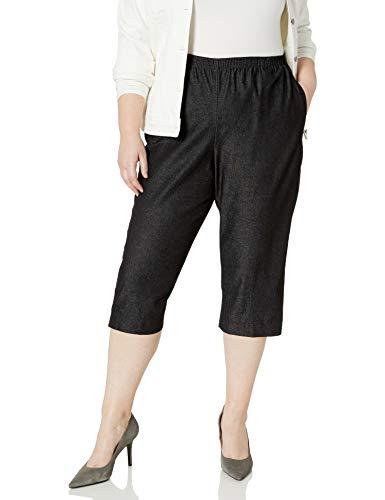 Alfred Dunner Women's Size All Around Denim Plus Capris Pants-Elastic Waist Jeans, Black, 18W