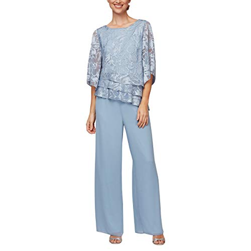 Alex Evenings womens Asymmetric Chiffon Blouse Dress Shirt, Hydrangea, X-Large US (Apparel)